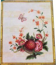 Elsa Williams Oriental Flowers Vintage Crewel Kit Silk Wool Champagne Satin