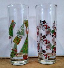 Two Christmas Holiday Tall Double Shot Glasses - Trees, Snowmen, Santa, Presents