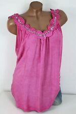 38 40 todos soñamos top blusa flores lentejuelas el escote VISCOSE Pink