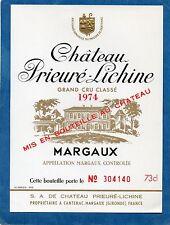 MARGAUX 4E GCC VIEILLE ETIQUETTE CHATEAU PRIEURE LICHINE 1974 NUMEROTEE §12/08§