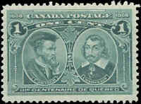Mint H Canada VF Scott #97i 1c HAIRLINES 1908 Quebec Tercentenary Issue Stamp