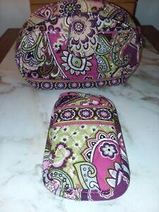 VERA BRADLEY WOMEN'S TRAVEL TOLITERY BAG/EYEGLASS HOLDER SET PINK PAISLEY