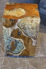 """18"""" H heavy Stool side table accent solid wood smooth cracked resin modern 110d"""
