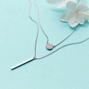 925 Sterling Silver Women Necklace Double Layer Geometric Pendant Fine Jewelry