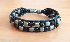 Handmade Beaded Bracelet With Genuine Black Leather, Natural Pyrite,Onyx.7,5""
