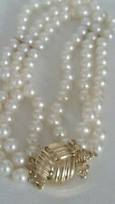 Beautiful Pearl & 14K Yellow Gold and Multi Stranded Pearls Bracelet 19cm long