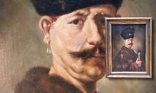 """Retrato uno hacer Polonia. Antiguo Pintura al óleo monograma """" TO 1915 """""""