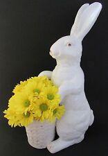 "Majolica Rustic White Rabbit Vase/Planter 18"""