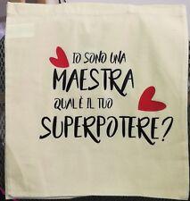 SHOPPER borsa tela cotone bag da personalizzare maestra mamma nonni idea regalo