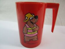 VIntage Bubi Bear Red Plastic Drinking Cup Hanna Barbera Productions C 1971