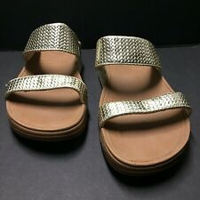 Fit Flop Lulu Gold Ankle Strap Slide Comfort Sandals Shoes Women Size 7 Us