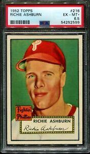 1952 TOPPS #216 RICHIE ASHBURN PHILLIES HOF PSA 6.5 A2037-599