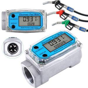 """Digital Turbine Flow Meter NPT ANS Gas Oil Fuel Flowmeter BSPT/NPT 1"""" 200L/MIN"""