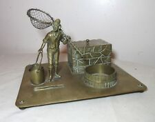 antique 1800s Austrian bronze figural fisherman desk set box set statue holder