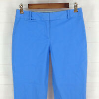 TALBOTS Signature womens size 2 stretch solid blue mid rise tapered chino capri
