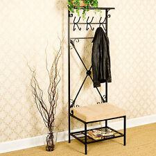 Slim Metal Hall Tree Coat Rack Stand Home Entryway Furniture Cushion Bench Shelf