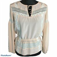 Haute Hippie Bohemian Silk and Lace Blouson Top