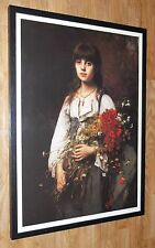 The Flower Girl Print - A A Harlamoff, framed  50x70cm, vintage flower seller
