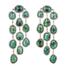 Emerald 14K Gold Pave 7.11 Ct Diamond Pave Chandelier Earrings Silver Jewelry