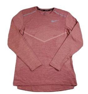Nike TechKnit Ultra Running Top Small Long Sleeve Women's Orange Performance