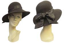 stile VTG 1940s marrone largo con falda feltro Tilt Cappello Fedora raso nastro