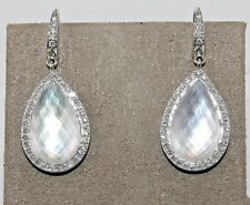 Pear Shape White Quartz & Mother of Pearl Drop Lady's Earrings 18K WG 18.79Ct