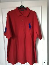 Mens Authentic Polo Ralph Lauren Logo Detail Red Polo T-shirt, Size 1XL Big New