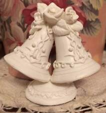 """Small 2.5"""" White Wedding Bells Name Place Card Holder or Table Shower Decor"""