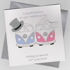 Personalised Handmade Camper Van Wedding Card
