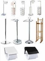 BAMBOO STAINLESS STEEL CHROME WOOD TOILET LOO ROLL HOLDER STORAGE FREE STANDING