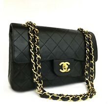 CHANEL Double Flap 23 Quilted CC Logo Lambskin w/Chain Shoulder Bag Black/ pBF