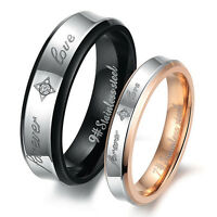 CZ Silver Black Rose Gold GP Stainless Steel Band Ring Size 5 6 7 8 9 10 11 12