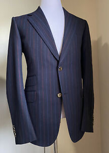 New $3800 Gucci Mens Suit Striped Navy/Blue 42R US ( 52R Eu ) Italy