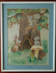 Vintage Original Pastel Painting Rabbit Squirrl Mouse Child Kid Room Wall Decor