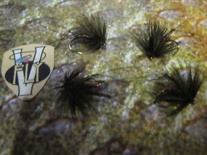 4 V Fly Size 10 Ultimate Black & Red Bibio Half Hogs Trout Flies