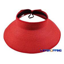 Womens Sun Visor Cap Roll Up Foldable Beach Straw Hat Adjustable Golf Tennis Cap