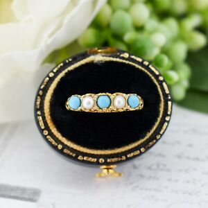 Antique Style Turquoise and Pearl Five Stone Scroll Gold on Silver Band Ring