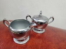 Vintage Perma Brite Chrome Tea Coffee Set National Silver Company Sugar Creamer