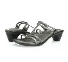 Women's NOAT Loop Slide Sandals Gray Lizard Leather Size 40 US 9