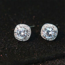 Women Shining Princess Crystal/Cubic Zirconia Square Halo Earrings Wedding Party