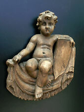 ORIGINAL ANTIQUE BAROQUE WOODEN PUTTI  HAND CARVED SCULPTURE