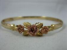Vintage 14k BHG Floral Hinged Bangle Bracelet