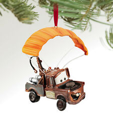 2011 Disney Store CARS 2 Tow Mater Parachute Canopy Rockets Christmas Ornament