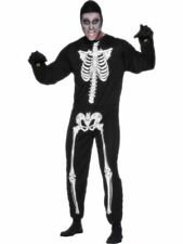 ADULT Men's SKELETON FANCY DRESS Costume Jumpsuit SMIFFYS Halloweeen Size L NEW
