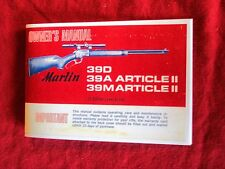 MARLIN MODEL 39D, 39A, 39M 22 CAL. RIFLE OWNERS MANUAL DATED 1971