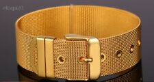 24k GOLD PLATED BELT BRACELET - UNISEX SILVER MESH BANGLE WITH GIFTBOX