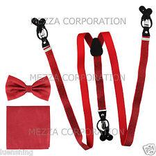 New in box Men's Convertible Elastic red glitter Suspender_Bowtie Hankie