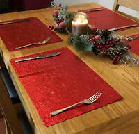 Set Of 4 Christmas Red Metallic Dinner Table Place Mats - Rectangle