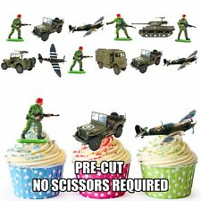 PRECUT Military Army Soldiers Vehicles Party Pack - 36 Edible Cup Cake Toppers