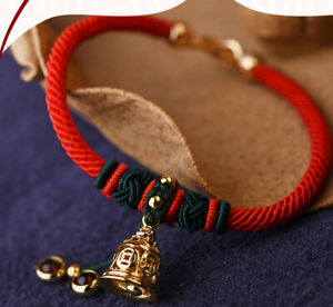 14K Gold Plated Bell With Red Rope Bracelet